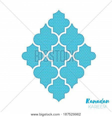arabesque Mosque Window Ramadan Kareem Greeting card with arabic pattern. Holy month of muslim. Crescent Moon. Symbol of Islam. Applique Design Vector illustration.