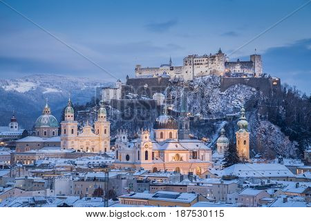 Classic View Of Salzburg At Christmas Time In Winter, Austria