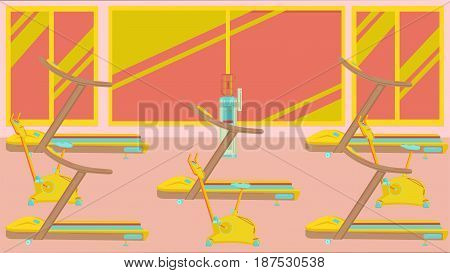 A well-equipped gym with exercise equipment illustration