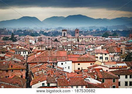 Old Town And Mountains, Lucca