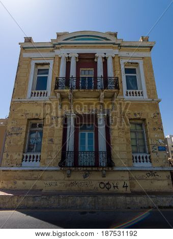 HERAKLION GREECE - JULY 16 2016: Crete. Abandoned house outside the tourist destinations.