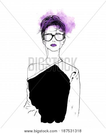 Rap music girl. Pretty Young Urban Rap Girl. Isolated over white. Vector illustration