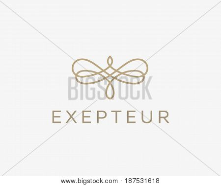 Abstract butterfly flower linear weave logo symbol. Premium pattern universal vector logotype