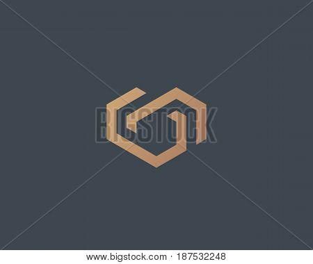 Geometric heart vector logotype. Love home logo vector symbol. Chain partner real estate house icon sign.