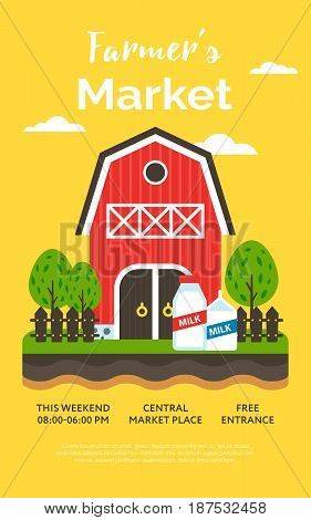 Beautiful detailed vector poster or web banner template on 'Farmers Market' with water farm house milk and garden. Ideal for organic farming events promotion and advertisement