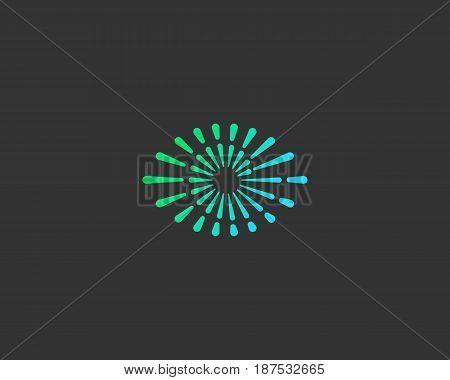 Eye swirl spiral infinity vector logo. Creative camera shutter vision logotype. Photo video control sign