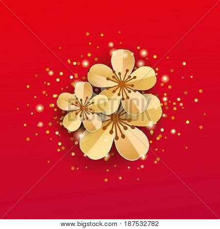 gold red sakura flowers background Apple tree. Spring flower mother day background. Paper art flowers template for banners, flyers, invitation, sale, invitation, congratulation, posters, greeting card