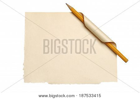 Blank sheet old paper with curled corner and pencil isolated on white