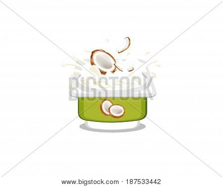 Coconut flavor creamy yogurt on white background