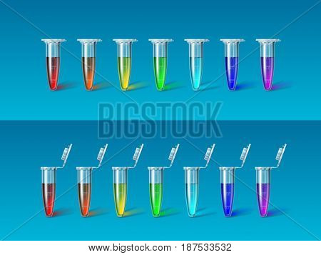 Set of seven micro-test tubes for researches with liquids of colors of the rainbow on blue background. Science concept. Realistic vector illustration. Is suitable for use on a transparent background