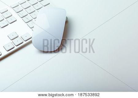 Close up image of computer office keyboard on a white background
