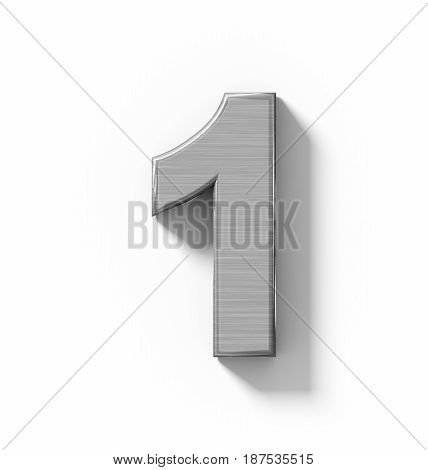 Number 1 3D Metal Isolated On White With Shadow - Orthogonal Projection