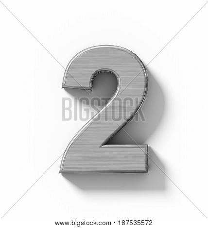 Number 2 3D Metal Isolated On White With Shadow - Orthogonal Projection