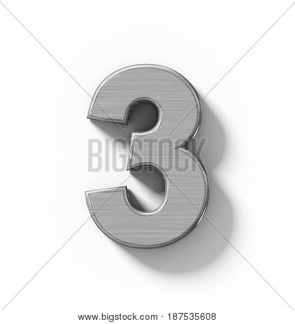 Number 3 3D Metal Isolated On White With Shadow - Orthogonal Projection