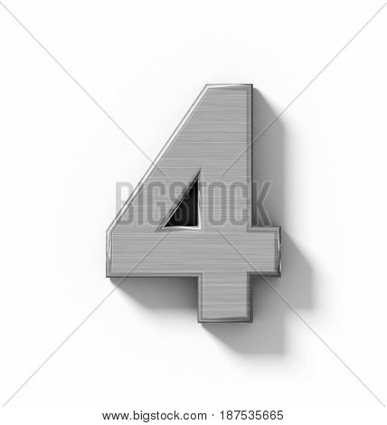Number 4 3D Metal Isolated On White With Shadow - Orthogonal Projection