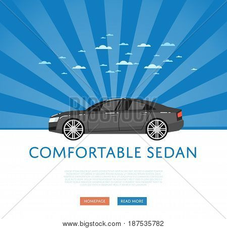 Website design with business sedan. Comfortable family car on blue striped background, modern auto vehicle banner. Auto business, sale or rent transport online service vector illustration concept