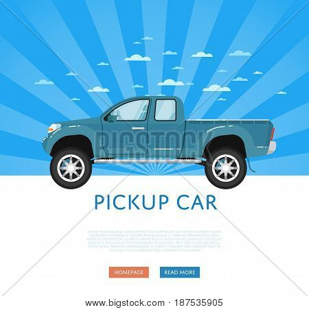 Website design with pickup truck. Off road 4x4 auto vehicle, modern suv car on blue striped background banner. Auto business, sale or rent transport online service vector illustration concept
