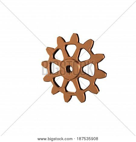 Metallic cogwheel. Isolated on white background. 3D rendering illustration.