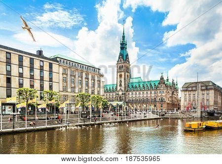 Beautiful View Of Hamburg City Center With Town Hall And Alster River, Germany