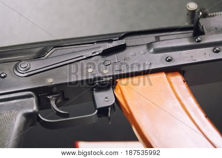 Automatic weapons - kalashnikov assault rifles - close up view, Russian Army