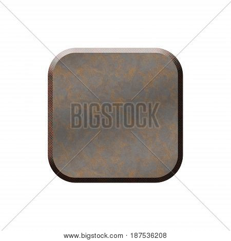 Metal badge in form of rounded square.Isolated on white background.