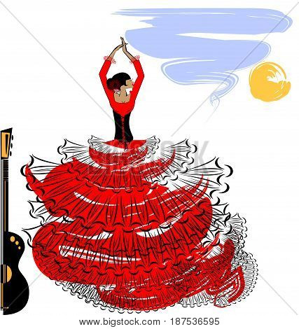 abstract sky background and Spanish dancer in red-black dress