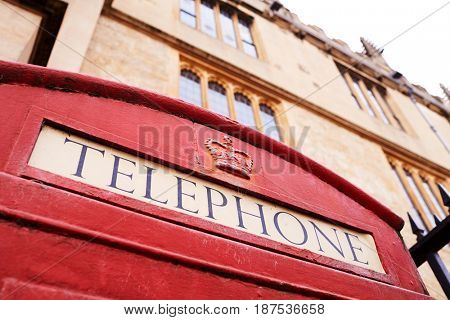 Exterior Of Old Fashioned Red Telephone Box In Oxford