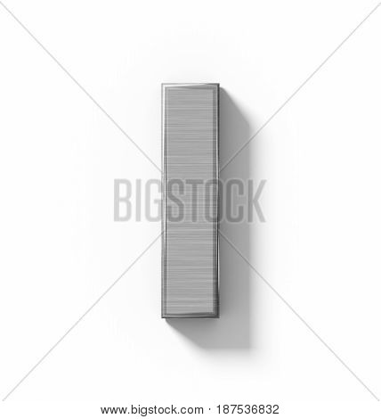 Letter I 3D Metal Isolated On White With Shadow - Orthogonal Projection