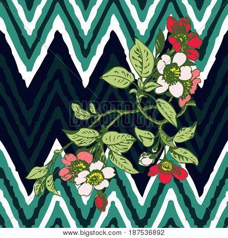 Hand drawn branche flower roses tropical vintage print on stripes zigzag pattern grunge retro background vector illustration design for fashion shirt textile greeting card invitation wedding