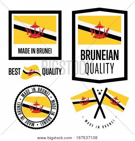 Brunei quality isolated label set for goods. Exporting stamp with bruneian flag, nation manufacturer certificate element, country product vector emblem. Made in Brunei badge collection.