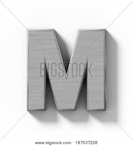 Letter M 3D Metal Isolated On White With Shadow - Orthogonal Projection