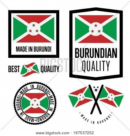 Burundi quality isolated label set for goods. Exporting stamp with burundian flag, nation manufacturer certificate element, country product vector emblem. Made in Burundi badge collection.