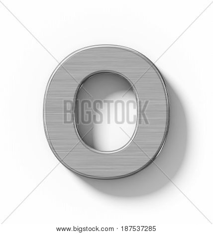 Letter O 3D Metal Isolated On White With Shadow - Orthogonal Projection