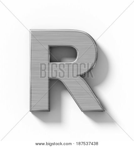 Letter R 3D Metal Isolated On White With Shadow - Orthogonal Projection