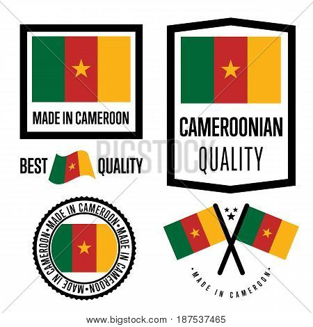 Cameroon quality isolated label set for goods. Exporting stamp with cameroonian flag, nation manufacturer certificate element, country product vector emblem. Made in Cameroon badge collection.