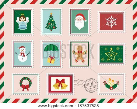 Merry Christmas and Happy New Year postcard with postage stamp. Vector illustration