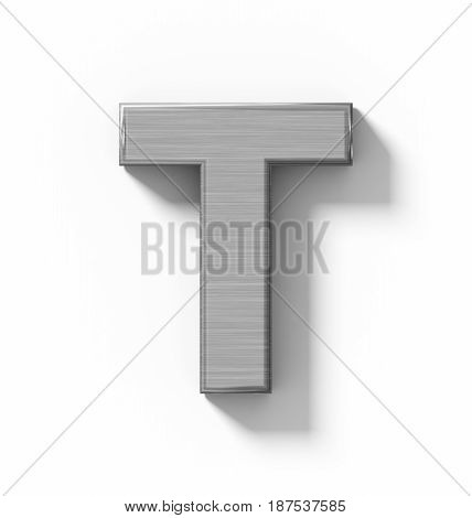 Letter T 3D Metal Isolated On White With Shadow - Orthogonal Projection