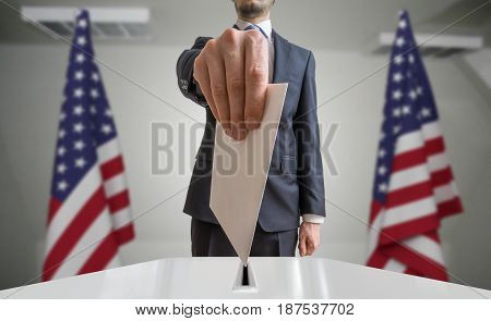 Election Or Referendum In United States. Voter Holds Envelope In