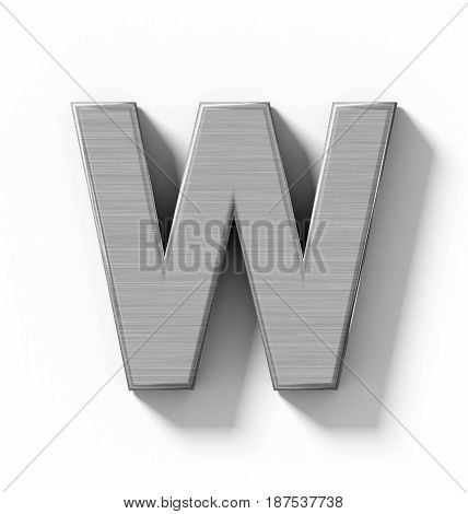 Letter W 3D Metal Isolated On White With Shadow - Orthogonal Projection