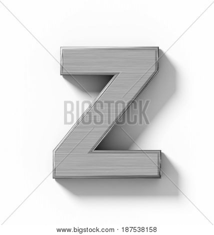 Letter Z 3D Metal Isolated On White With Shadow - Orthogonal Projection