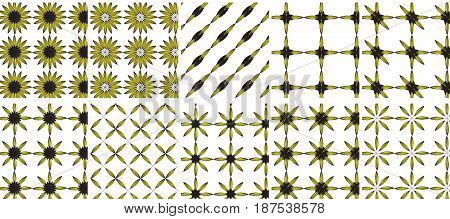 Sunflower with yellow leaves seamless pattern. Sunflowers on transparent background vector illustration 10 in 1 mega pack bundle of 10 pattern
