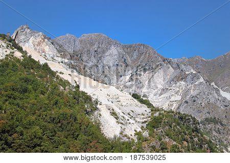 Open Quarrying Of White Marble Blocks