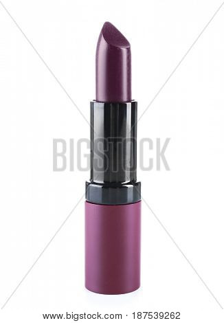 Lilac lipstick on white background