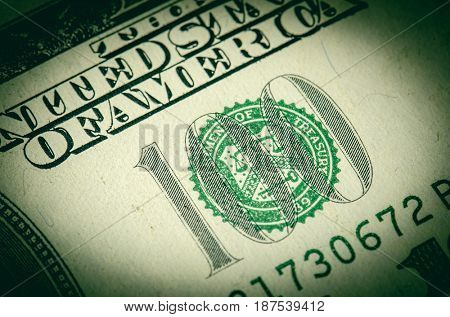 100 dollars banknote. Macro photo