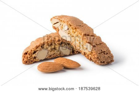 cantuccini cookies on white background