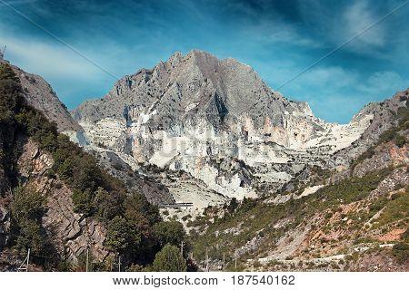 White Marble Quarries Near Carrara