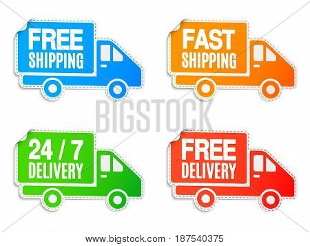 Set of free shipping and free delivery car labels