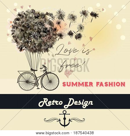 Fashion illustration or beautiful save the date card with dandelions and retro bicycle. Summer love