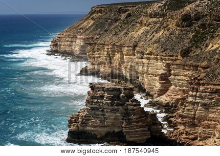 Western Australian rocky coastline with strong surge and high cliffs