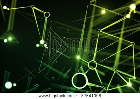 Abstract green pattern backdrop. Technology concept. 3D Rendering